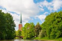Каналы Любека и башни собора Любека Стоковое Изображение