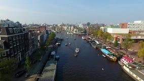 Канал Амстердама, осматривает сверху видеоматериал