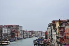 Канал с гондолами в Венеции Стоковая Фотография