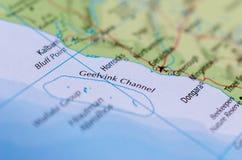 Канал Geelvink на карту Стоковое Изображение
