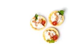 Канапе, закуска с сметанообразным салатом из курицы Стоковые Изображения RF