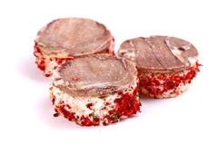 3 канапе мяса Стоковые Фото
