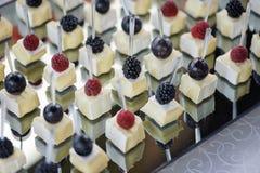 Канапе с сыром и крупным планом ягод Стоковое фото RF
