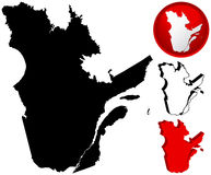 Канада детализировала карту Квебек Стоковые Изображения RF