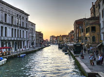 Канал в Венеции, Италии Стоковое Изображение