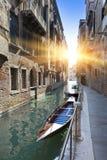 Канал и гондолы, Венеция, Италия Стоковые Изображения RF
