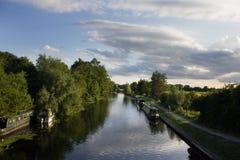 Канал и шлюпки Кембридж, Великобритания Стоковые Изображения RF