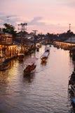 Канал рынка Amphawa, самая известная плавая рынка Стоковые Изображения RF