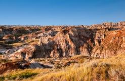Канадский ландшафт: Неплодородные почвы Drumheller, Альберты Стоковое Изображение
