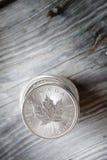 Канадский стог серебряной монеты кленового листа Стоковое фото RF