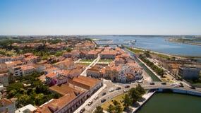 Каналы антенна взгляд сверху Авейру, Португалии Стоковые Изображения RF