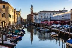 Каналы и старый городок в Chioggia, Италии Стоковое Изображение