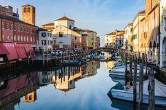 Каналы и старый городок в Chioggia, Италии Стоковая Фотография RF