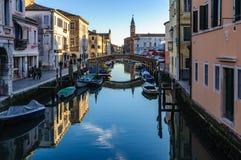Каналы и старый городок в Chioggia, Италии Стоковая Фотография