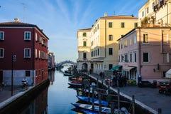 Каналы и старый городок в Chioggia, Италии Стоковые Изображения RF
