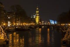 Каналы к ноча Амстердам Стоковое Изображение