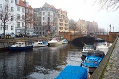 Канал Kristianshavn в Копенгагене Стоковые Изображения RF
