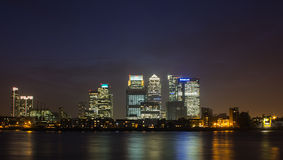 Канереечный причал в Лондоне на ноче Стоковая Фотография RF