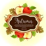 Канерейка яблока осени шаблона листвы сада иллюстрация штока