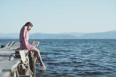 каникула девушки счастливая стоковое изображение