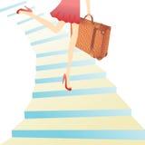 каникула девушки hyrrying иллюстрация вектора