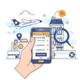 Каникулы летнего отпуска записывая онлайн концепцию Онлайн идея проекта для гостиницы мобильного телефона, полет резервирования,  иллюстрация штока