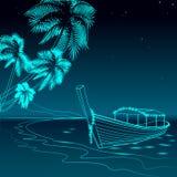 Каникулы моря прогулки ночи шлюпки Небо романтичного побережья отдыха перемещения свадьбы даты песочного звёздное Берег океана Pa Стоковая Фотография