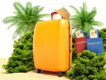 каникула зонтика неба пляжа предпосылки голубая цветастая Пляж с пальмой, чемоданом и пасспортом иллюстрация вектора