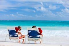 Каникулы пляжа рождества Стоковые Фотографии RF