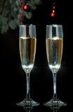 Каннелюры шампанского в установке праздника. Стоковое Фото