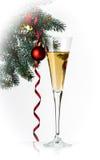 Каннелюры шампанского в установке праздника. Стоковые Фото