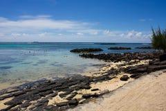 Канониры Маврикий Pointe северо-западного пляжа вспомогательные Стоковое Фото