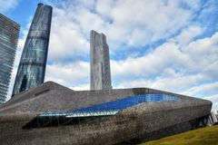 КАНТОН, †КИТАЯ «ОКОЛО январь 2017: Оперный театр Гуанчжоу Стоковое фото RF