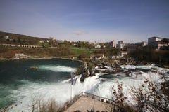 Кантон Rhine Falls Schaffhausen, Швейцария, самый большой простой водопад в Европе, высоком Рейне стоковые фото