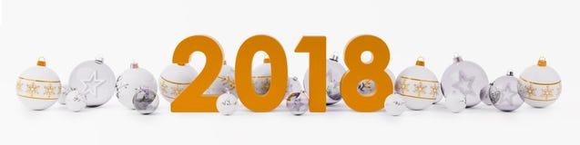 канун Нового Годаа 2018 с безделушками рождества выровнялся вверх по переводу 3D иллюстрация штока