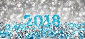 канун Нового Годаа 2018 с переводом безделушек 3D рождества иллюстрация вектора