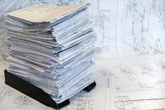 канцелярские принадлежности листа проекта чертежей одиночные Стоковая Фотография RF