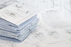 канцелярские принадлежности листа чертежей конструкции одиночные Стоковые Фотографии RF