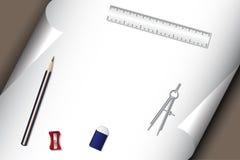 канцелярские принадлежности бумажного карандаша истирателя установленные Стоковое фото RF
