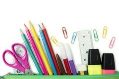 Канцелярские принадлежности школы и офиса в случае карандаша Стоковое Фото