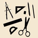 Канцелярские принадлежности для офиса и школы иллюстрация вектора