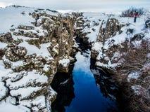 Каньон во время зимы, национальный парк Thingvellir, Исландия Стоковое фото RF