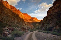 Каньон в пустыне на заходе солнца Стоковая Фотография RF