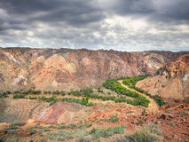 Каньон реки Charyn в пустыне Казахстана стоковое изображение