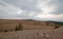Каньон/шар чашка на Sykes Ридже в горах Pryor на государственной границе Вайоминга Монтаны - США стоковые фотографии rf