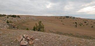 Каньон/шар чашка на Sykes Ридже в горах Pryor на государственной границе Вайоминга Монтаны - США стоковое фото