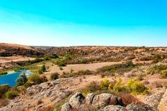 Каньон Aktov в дне осени в зоне Mykolayiv Стоковое Изображение RF