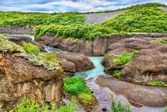 Каньон Bruarhlod реки Hvita в Исландии стоковые фотографии rf