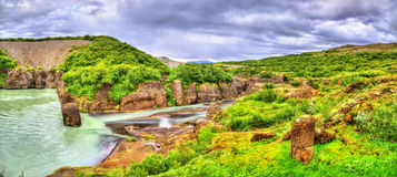Каньон Bruarhlod реки Hvita в Исландии стоковое фото rf