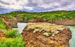Каньон Bruarhlod реки Hvita в Исландии стоковое изображение